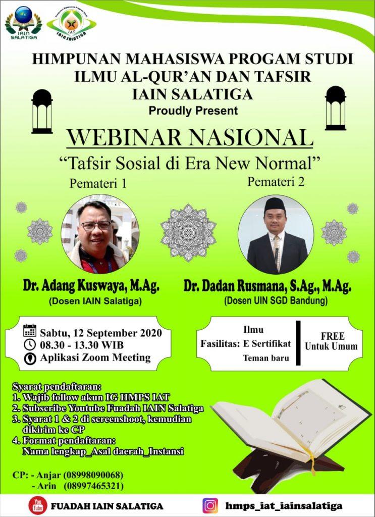 """Webinar Nasional HMPS Program Studi Ilmu Al-Qur'an dan Tafsir : """"Tafsir Sosial di Era New Normal"""""""